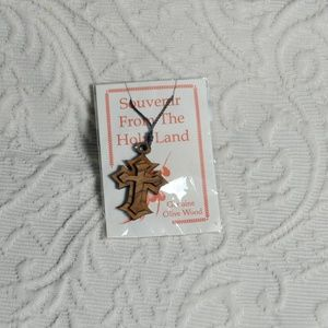 Jewelry - Authentic Olive Wood Cross Necklace From Holy Land